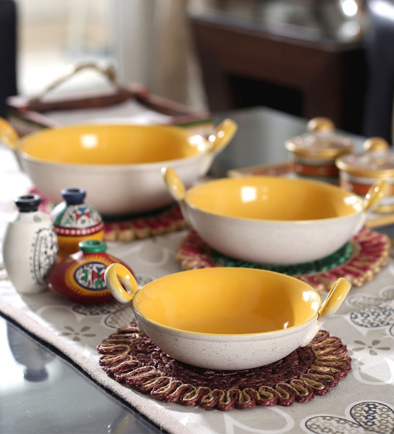 Vareesha Yellow Ceramic Serving Kadhai - Set of 3