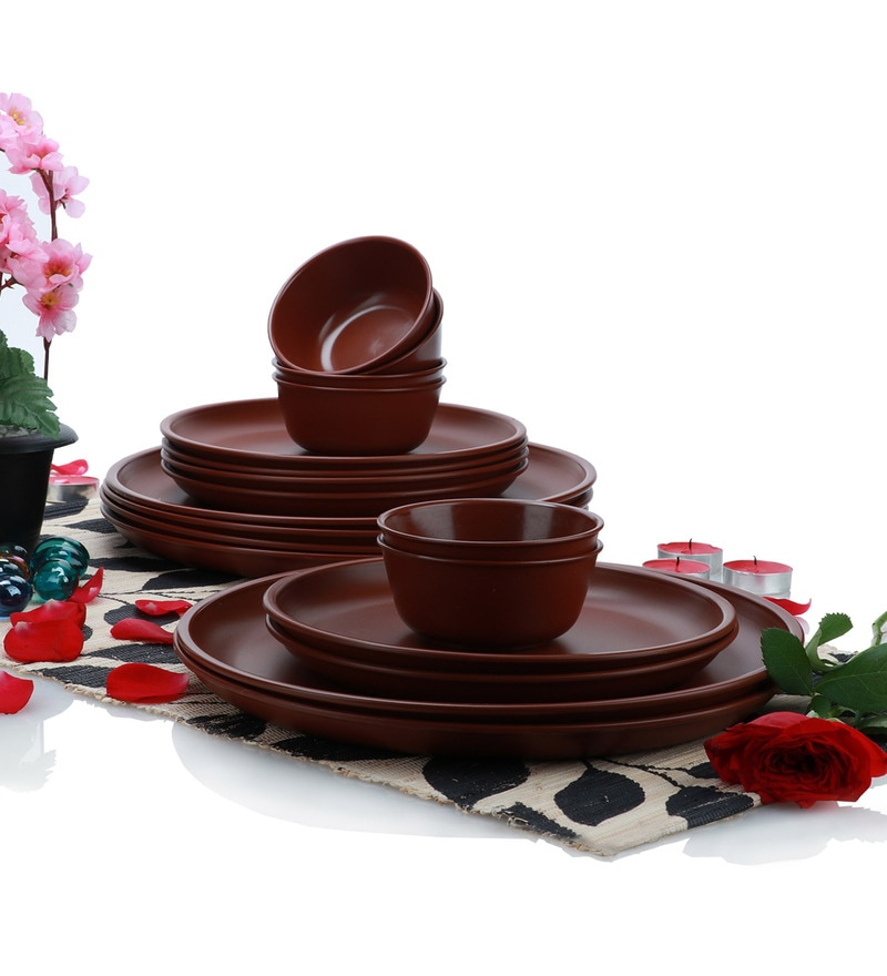 Varmora Brown Dinner Sets - Set of 18
