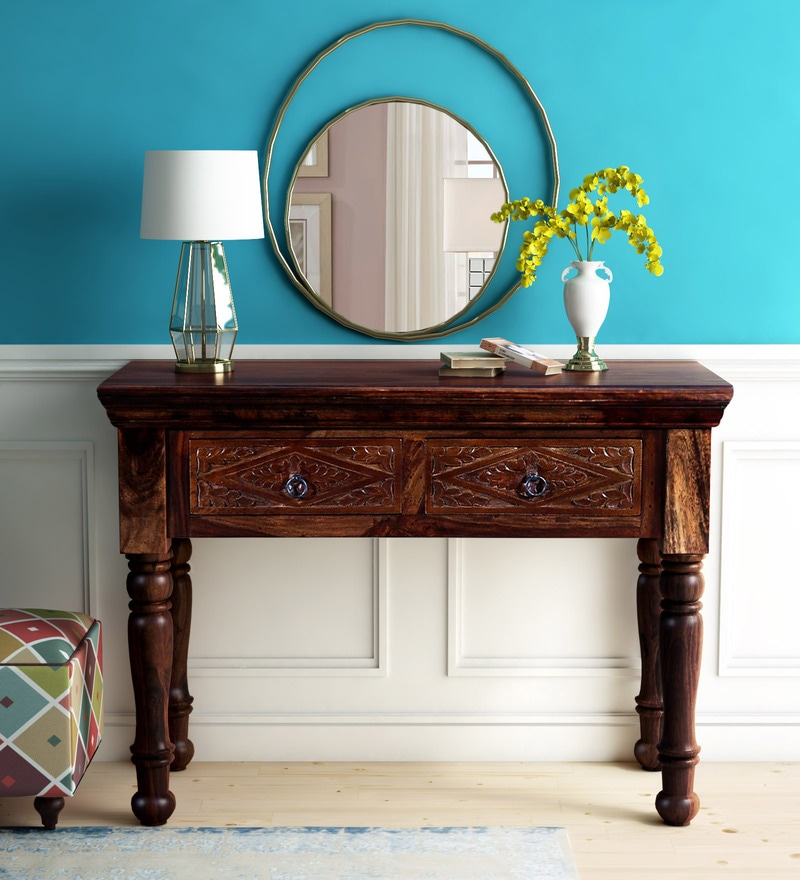 Buy Vayaka Solid Wood Console Table In Provincial Teak Finish By