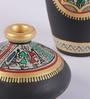 Black & Dark Blue Terracotta Warli Pot - Set of 2 by VarEesha