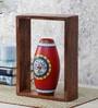 VarEesha Brown and Red Sheesham Wood Shelf and Terracotta Pot