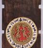 Brown Mango Wood & Brass Dhokra Wall Hanging Set by VarEesha