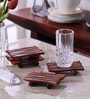 Vareesha Fish Shaped Brown Sheesham Wood Coaster - Set of 4