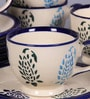 VarEesha Hand Crafted Paisley White & Blue Ceramic 150 ML Cup & Saucer - Set of 6