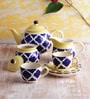 VarEesha Blue and Yellow Ceramic 150 ML 15-piece Tea Set
