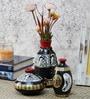 Madhubani Black, Gold and White Terracotta 3-piece Pot Set by VarEesha