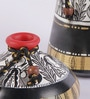 Madhubani Black, Gold and White 2-piece Terracotta Pot Set by VarEesha