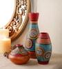Multicolour Terracotta Hand Painted Warli Vases - Set of 3 by VarEesha