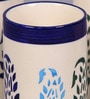 Vareesha Paisley White & Blue Ceramic 120 ML Glasses - Set of 4