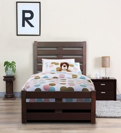 venus single bed with high headboard in brown colour