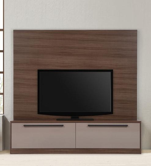 buy velentina wall tv unit in walnut finish by evok online modern rh pepperfry com wall tv unit modern wall tv units for living room