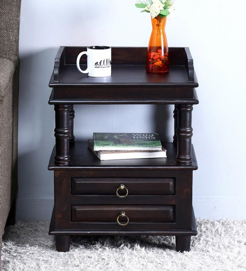 vemaki bed side table in warm chestnut finish by mudramark
