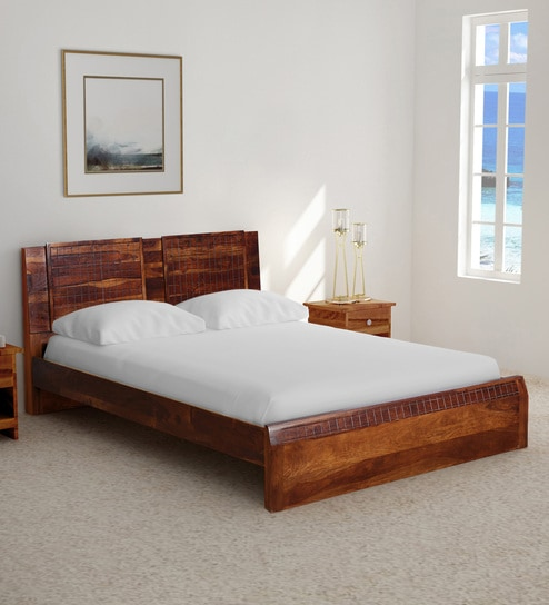 Buy Verkko Solid Wood Queen Size Bed in Warm Rich Finish by ...