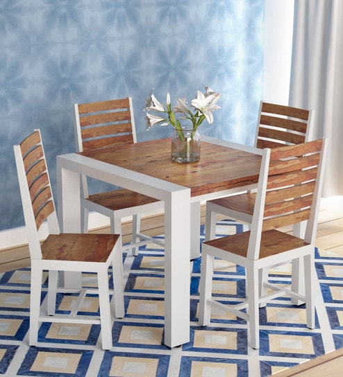 Buy Verona Solid Wood Four Seater Dining Set In Distress Finish By Bohemiana Online