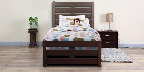 single bed size design. Venus Single Bed With High Headboard In Brown Colour Size Design