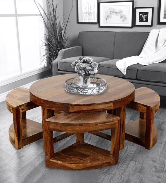 Buy Vega Coffee Table With Stools In Honey Finish By Trendsbee Online Nesting Coffee Tables Sets Tables Furniture Pepperfry Product