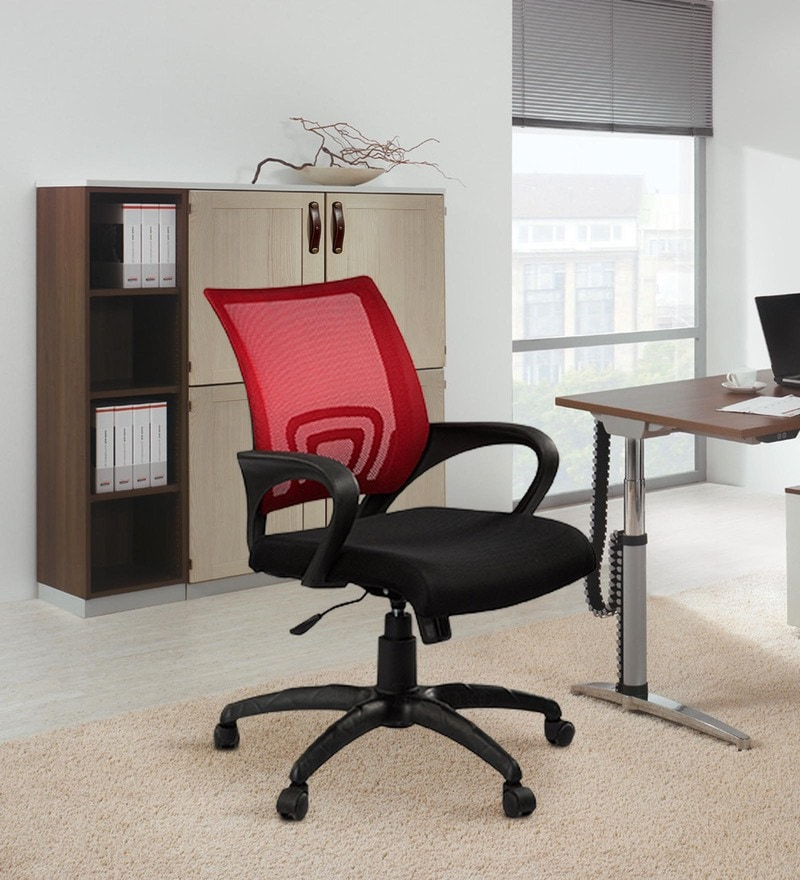 Vento Medium Back Ergonomic Chair in Black & Red Colour by Debono