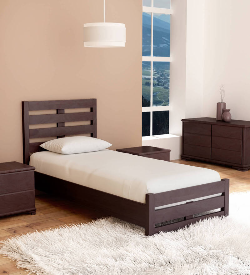 Buy Venus Single Bed With High Headboard In Brown Colour