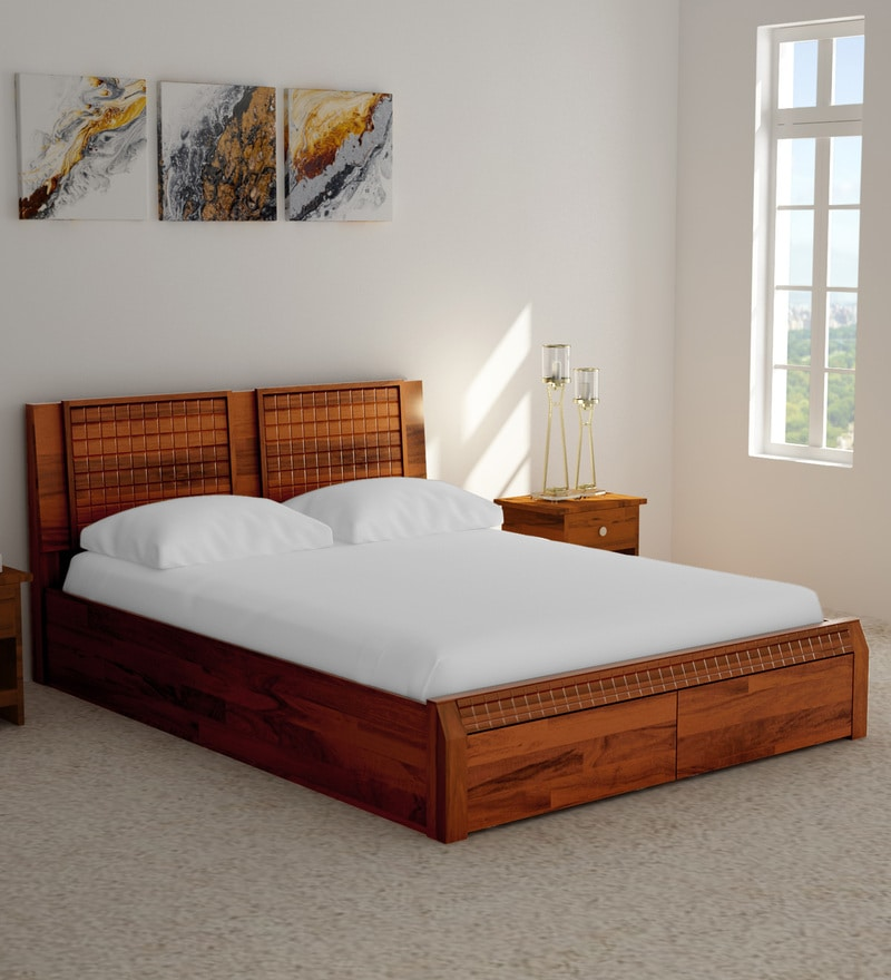Buy Verkko Solid Wood King Size Bed With Drawer Storage In
