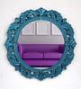 Blue Glass & MDF Flower Wall Mirror by Venetian Design