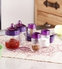 Herevin Venezia Mauvilio Table Set - 2 Sauce Spice Jars & 2 Spice Shakers & Toothpick Holder
