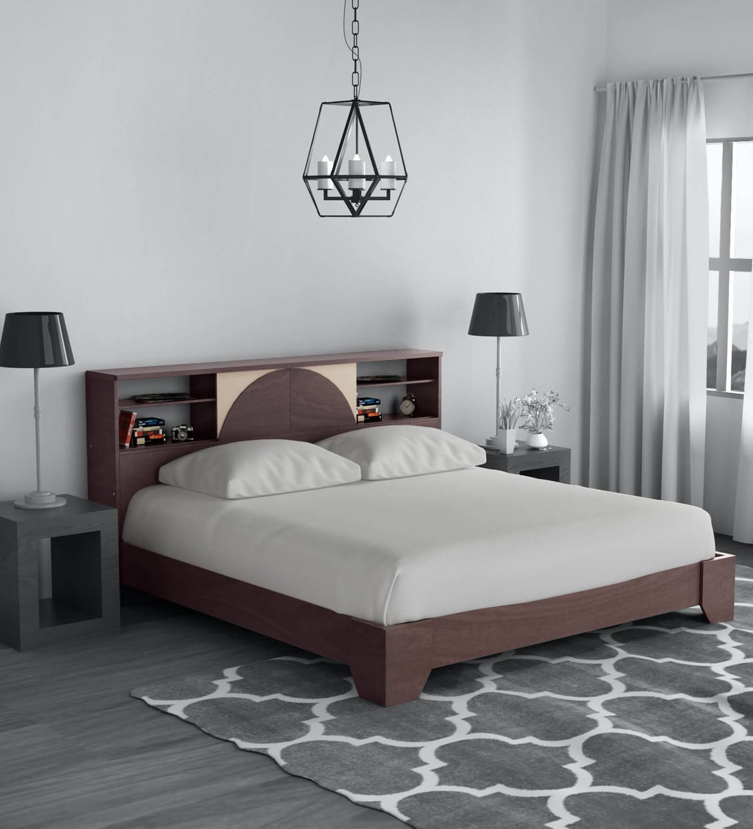 Picture of: Buy Vida King Size Bed With Headboard Storage In Wenge Finish By Mintwud Online Modern King Size Beds Beds Furniture Pepperfry Product