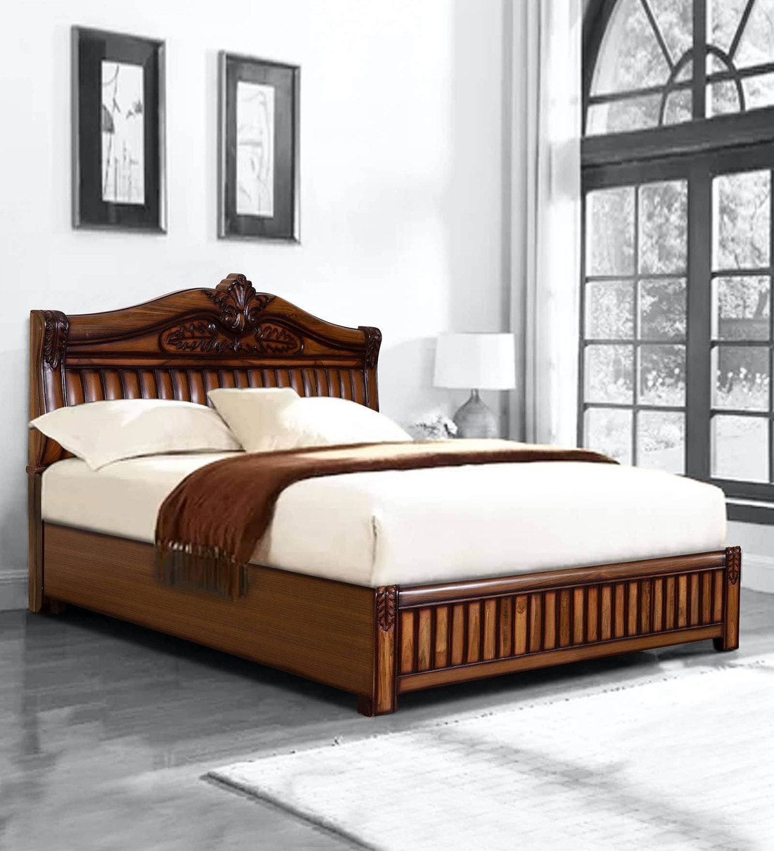 Picture of: Buy Vincent King Size Bed With Storage In Natural Finish By Trendsbee Online Traditional King Size Beds Beds Furniture Pepperfry Product