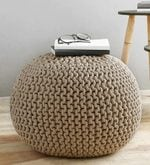 Victor Knitted Cotton Pouffe in Beige Colour