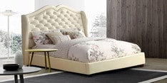 Vintage Chic Queen Size Bed in White Leathrette