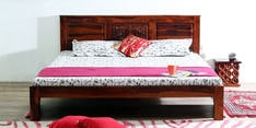 Vipra Handcrafted King Size Bed in Honey Oak Finish