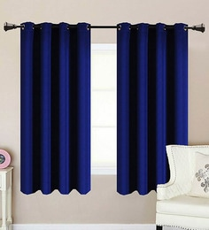 Navy Polycotton 53 x 63 Inch Best Quality Window Curtain - Set of 2 & Curtain Online - Buy Window Curtains in India at Best Prices ... pezcame.com