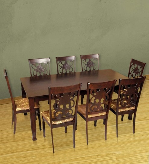 Victoria Eight Seater Dining Set In Brown Colour By Hometown