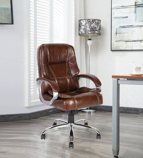 Vienna Mid Back Executive Chair In Brown Leatherette By Green Soul