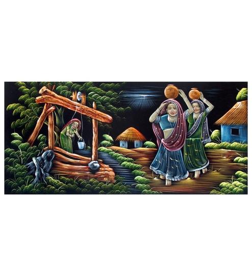 Villcart Rajasthani Village Cloth 492 X 004 24 Inch Unframed Wall Painting