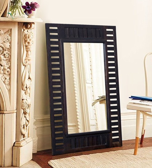 Buy Solid Wood Rectangle Wall Mirror In Black Colour By Woodsworth Online Rectangle Mirrors Wall Accents Home Decor Pepperfry Product