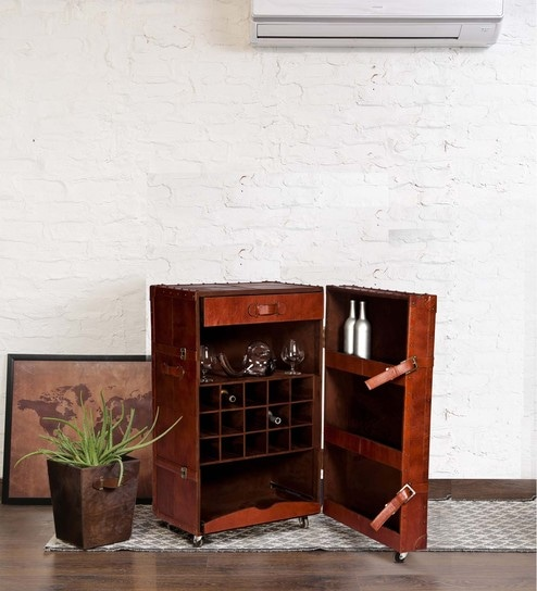 Merveilleux Vintage Bar Cabinet In Brown Leather By Studio Ochre