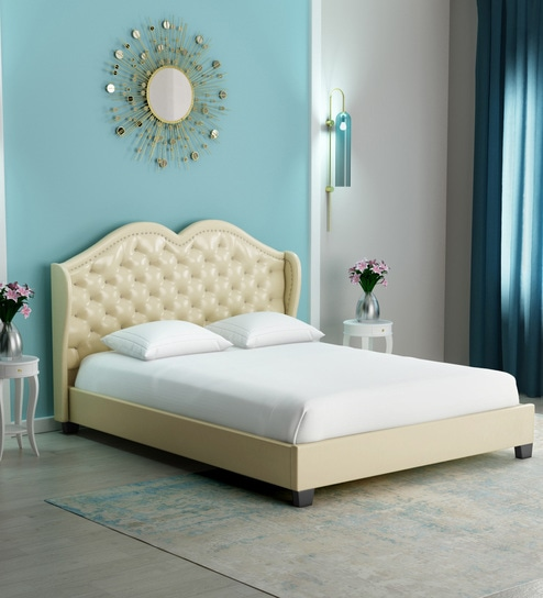 Phenomenal Vintage Chic Queen Size Bed In White Leathrette By Dreamzz Furniture Beutiful Home Inspiration Ommitmahrainfo