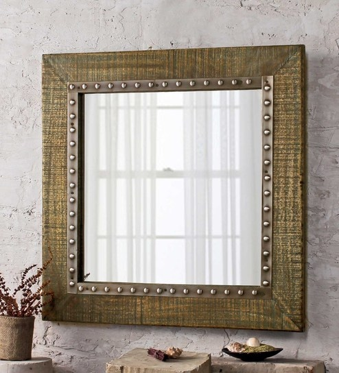 Buy Wally Square Wall Mirror in Solid Wood Frame by Fabuliv Online ...