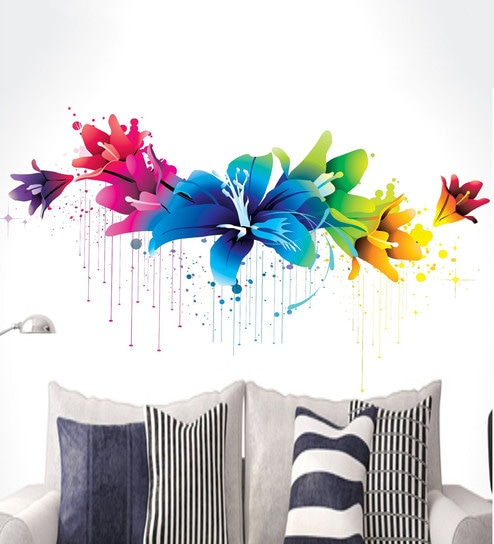 buy vinyl colourful flowers wall stickerhappy walls online