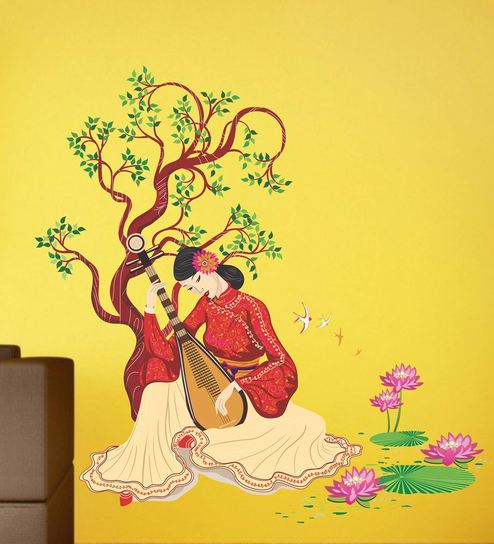 Vinyl Girl Under A Tree With Musical Wall Sticker By Happy Walls