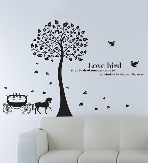 buy vinyl horse cart with trees wall stickerhappy walls online