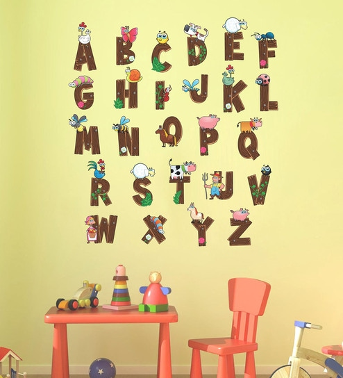 Vinyl kids 3d cute alphabet wall sticker by wall attraction