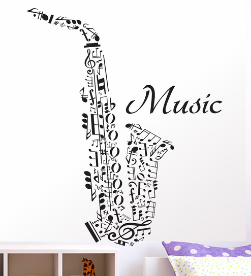 Vinyl Saxophone With Music Wall Sticker By Happy Walls