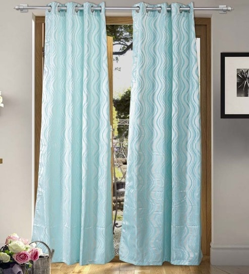 Abstract Pattern Polyester 7 Feet Long Door Curtain Set Of 2 By ALPS HOME