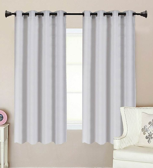 Solid Poly Cotton 5 Feet Window Curtain Set Of 2 By ALPS HOME
