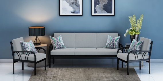 Buy Vienna Metallic Sofa Set 3 1 1 With Cobblestone Grey
