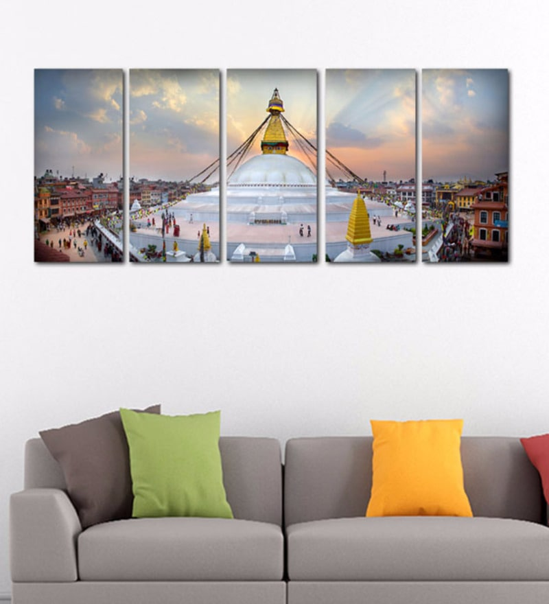 Vinyl 24 x 55 Inch Kathmandu Stretched Art Panel - Set of 5 by Tallenge