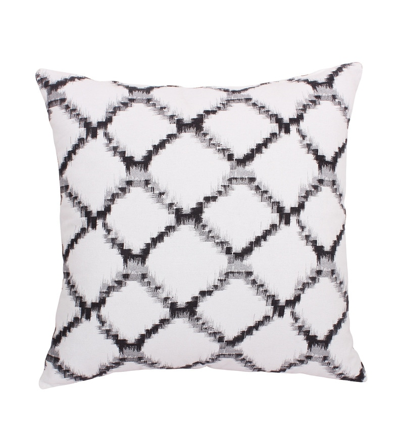 Grey Cotton 16 x 16 Inch Geometric Cushion Cover by Vista