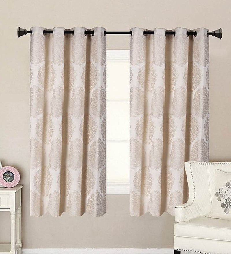 Beige Polycotton 53 x 63 Inch Best Quality Window Curtain - Set of 2 by Vista Home Fashion