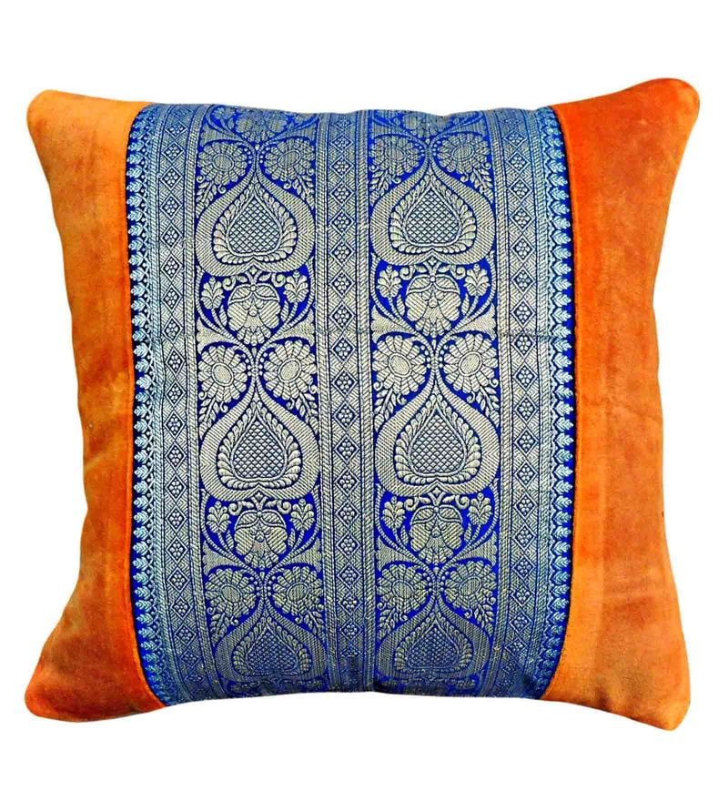 Orange Velvet 16 x 16 Inch Printed Cushion Cover by Vista Home Fashion